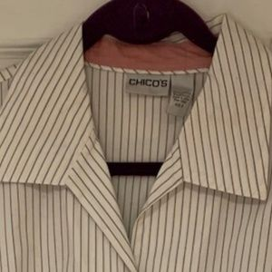Chico's Pinstripe Button Down Blouse